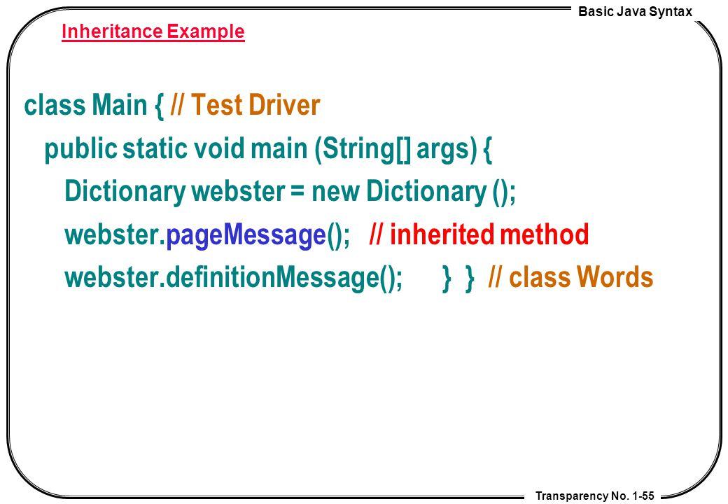 class Main { // Test Driver public static void main (String[] args) {